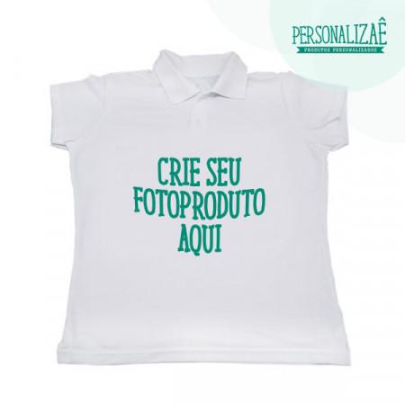 Camiseta Pólo Branca Baby Look
