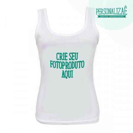 Camiseta Personalizada Regata Branca Fem